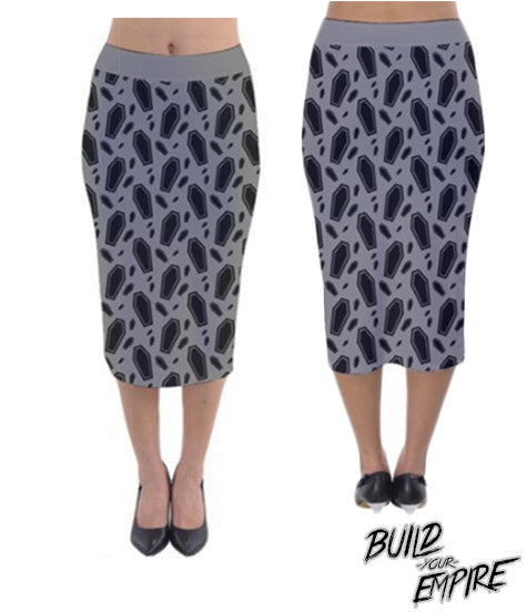 Coffin Decadence Pencil Skirt | Skirt | Nu Goth & Alternative Apparel | Build Your Empire Clothing Co.