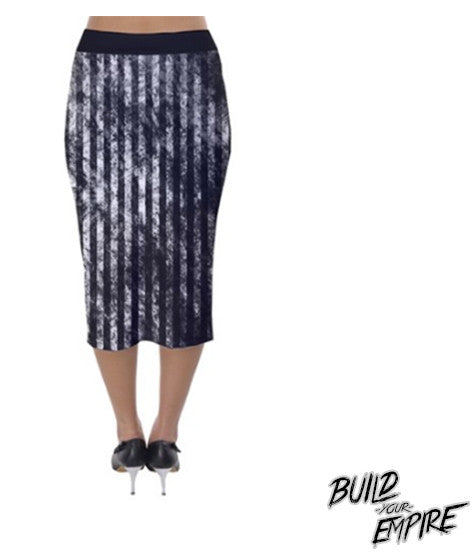 Grunge Stripes Pencil Skirt | Skirt | Nu Goth & Alternative Apparel | Build Your Empire Clothing Co.