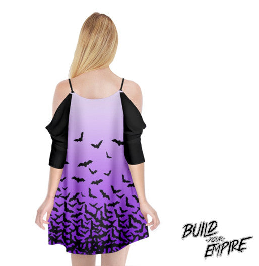 Fade to Bats Cold Shoulder Chiffon Dress | Dress | Nu Goth & Alternative Apparel | Build Your Empire Clothing Co.