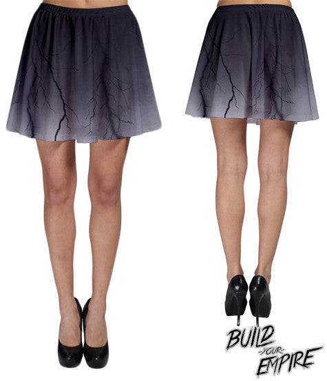 Black Lightning Skirt | Skirt | Nu Goth & Alternative Apparel | Build Your Empire Clothing Co.