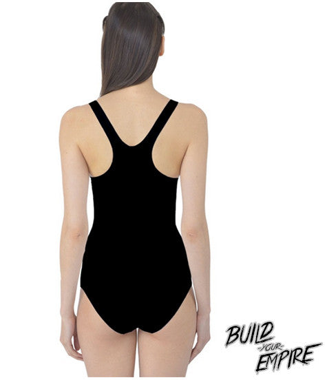 Question Everything One Piece Swim Suit | Women's Swim Wear | Nu Goth & Alternative Apparel | Build Your Empire Clothing Co.