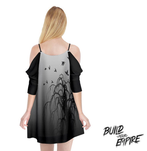 Quoth the Raven, Nevermore Cold Shoulder Chiffon Dress | Dress | Nu Goth & Alternative Apparel | Build Your Empire Clothing Co.