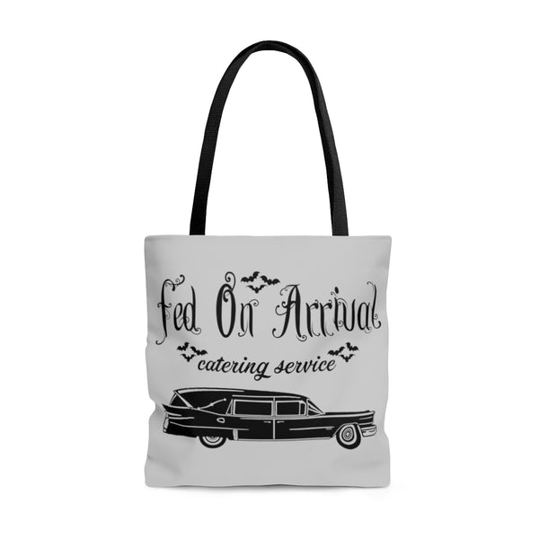 Fed On Arrival Catering Service Tote Bag | Tote Bag | Nu Goth & Alternative Apparel | Build Your Empire Clothing Co.