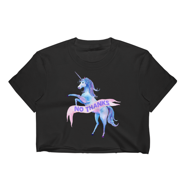 No Thanks Unicorn Women's Crop Top | Women's Shirts | Nu Goth & Alternative Apparel | Build Your Empire Clothing Co.