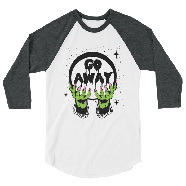 Go Away 3/4 Sleeve Raglan Shirt | Men's Shirt | Nu Goth & Alternative Apparel | Build Your Empire Clothing Co.