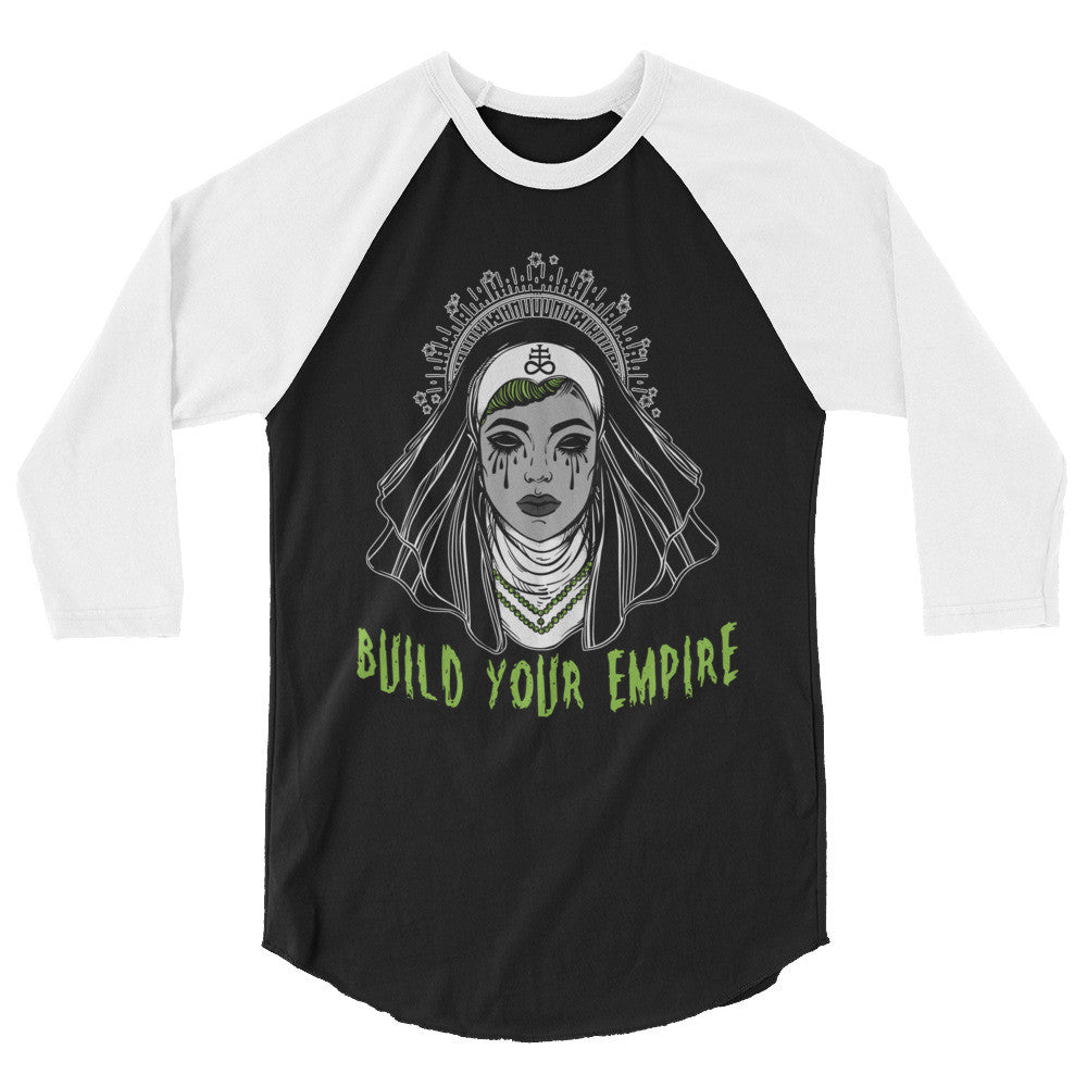 Satanic Sinners Nun Build Your Empire Black 3/4 Sleeve Raglan Shirt | Men's Shirt | Nu Goth & Alternative Apparel | Build Your Empire Clothing Co.