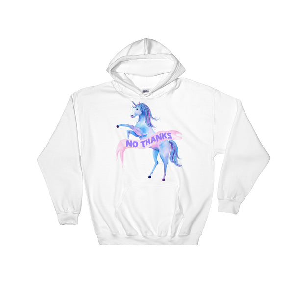 No Thanks Unicorn Unisex Hooded Sweatshirt | Hoodie | Nu Goth & Alternative Apparel | Build Your Empire Clothing Co.