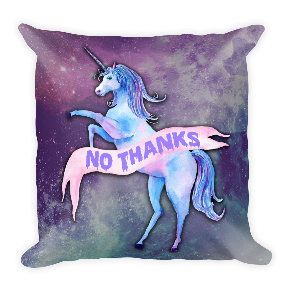 No Thanks Unicorn Pillow | Pillow | Nu Goth & Alternative Apparel | Build Your Empire Clothing Co.