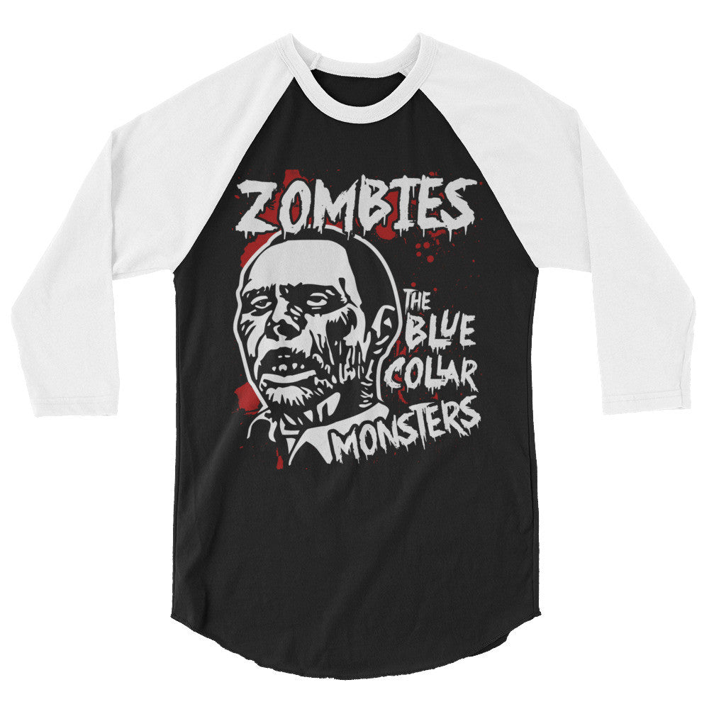 Rot in Pieces Zombie 3/4 Sleeve Raglan Shirt | Men's Shirt | Nu Goth & Alternative Apparel | Build Your Empire Clothing Co.