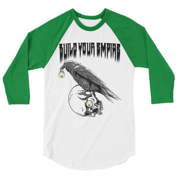 Build Your Empire Raven Eye 3/4 Sleeve Raglan Shirt | Men's Shirt | Nu Goth & Alternative Apparel | Build Your Empire Clothing Co.
