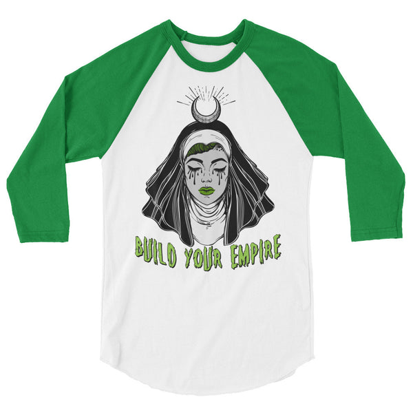 Sister Sinner Build Your Empire 3/4 Sleeve Raglan Shirt | Men's Shirt | Nu Goth & Alternative Apparel | Build Your Empire Clothing Co.