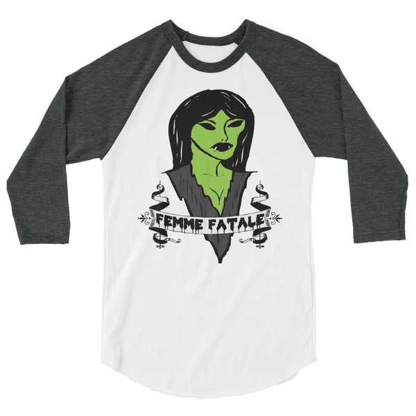Femme Fatale 3/4 Sleeve Raglan Shirt | Men's Shirt | Nu Goth & Alternative Apparel | Build Your Empire Clothing Co.