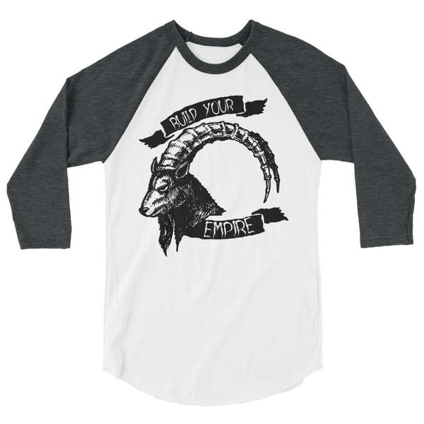 Build Your Empire Ram 3/4 Sleeve Raglan Shirt | Men's Shirt | Nu Goth & Alternative Apparel | Build Your Empire Clothing Co.