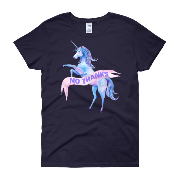 No Thanks Unicorn Women's T Shirt | Women's Shirts | Nu Goth & Alternative Apparel | Build Your Empire Clothing Co.