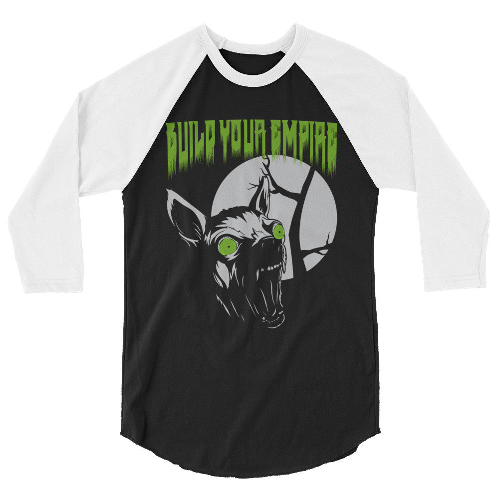 Build Your Empire Howl at the Moon 3/4 Sleeve Raglan Shirt | Men's Shirt | Nu Goth & Alternative Apparel | Build Your Empire Clothing Co.