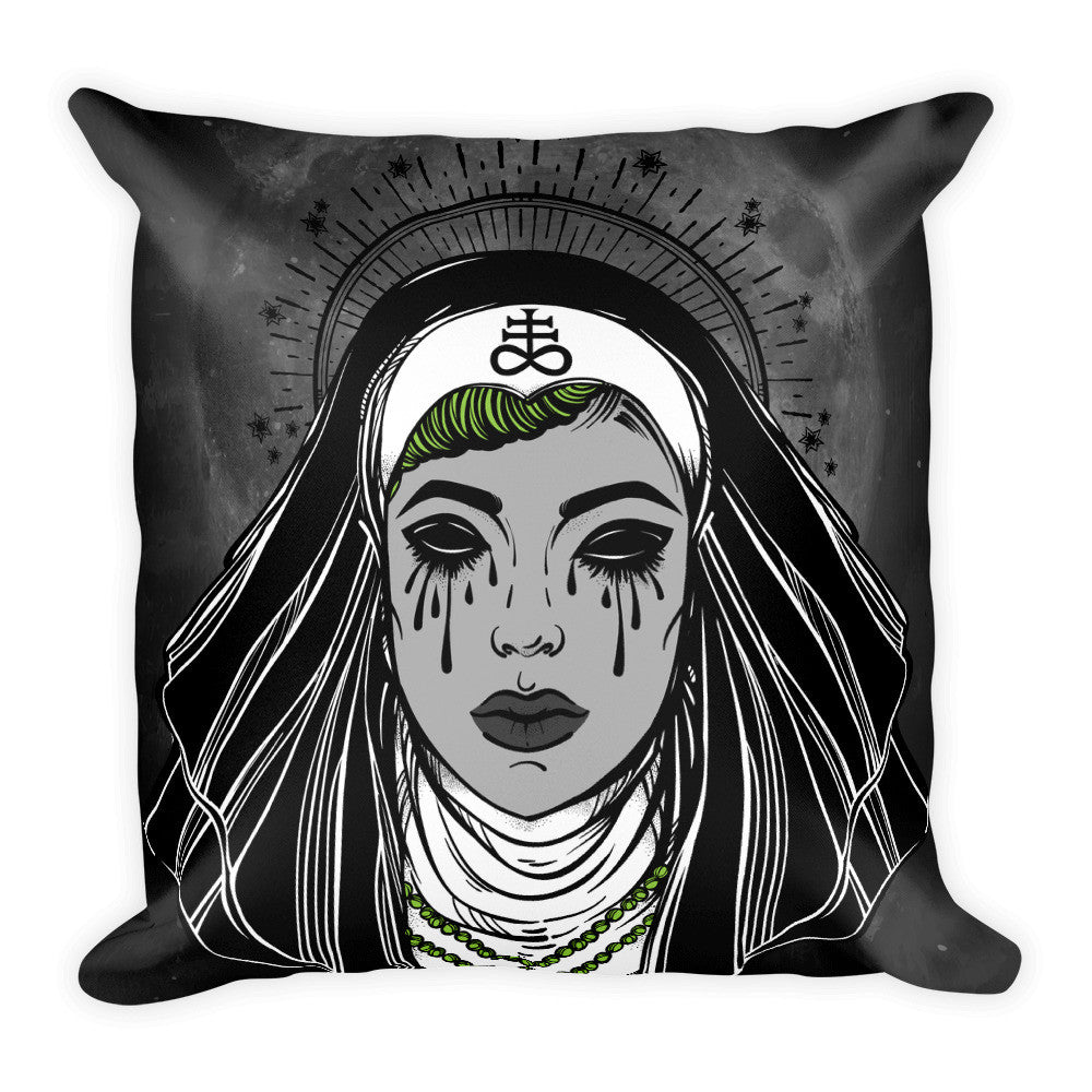 Satanic Sinner Nun Square Pillow | Pillow | Nu Goth & Alternative Apparel | Build Your Empire Clothing Co.