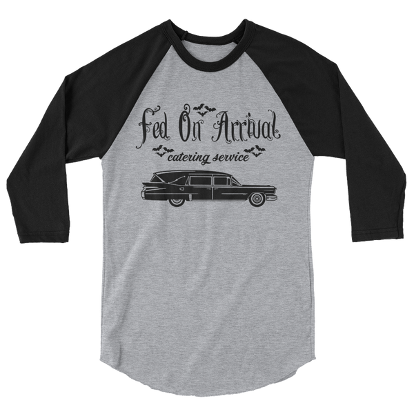 Fed on Arrival 3/4 Sleeve Raglan Shirt | Men's Shirt | Nu Goth & Alternative Apparel | Build Your Empire Clothing Co.