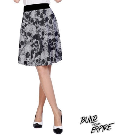 Pile of Skulls High Waisted Skirt | Skirt | Nu Goth & Alternative Apparel | Build Your Empire Clothing Co.