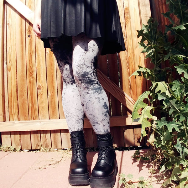 Grey Grunge Tights | Tights | Nu Goth & Alternative Apparel | Build Your Empire Clothing Co.