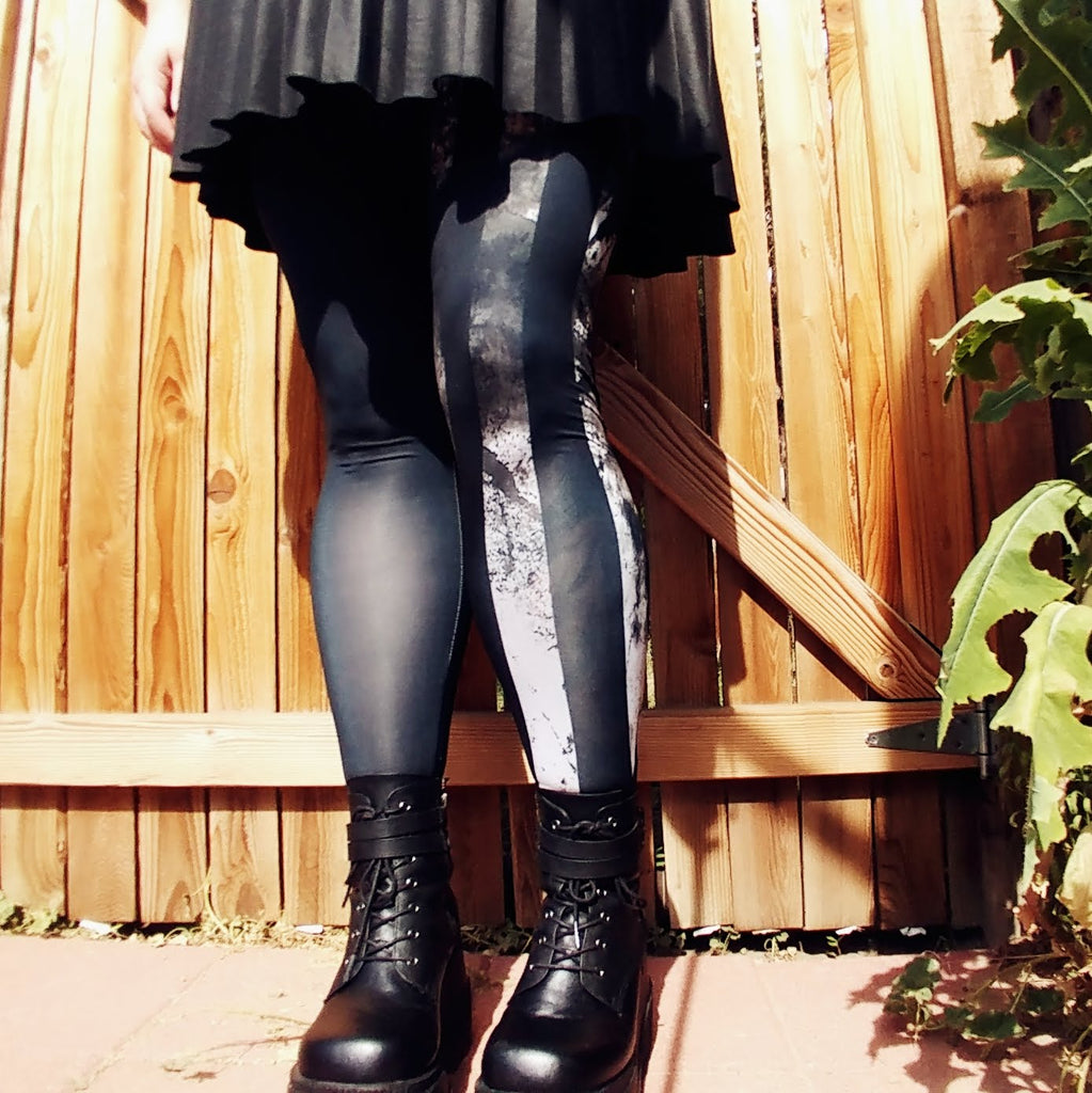 Two Faced Duality Tights | Tights | Nu Goth & Alternative Apparel | Build Your Empire Clothing Co.