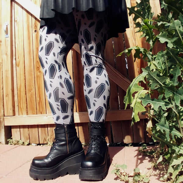 Coffin Decadence Tights | Tights | Nu Goth & Alternative Apparel | Build Your Empire Clothing Co.
