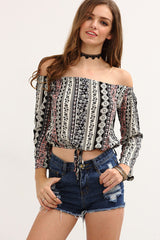 Top - Tribal Print Crop