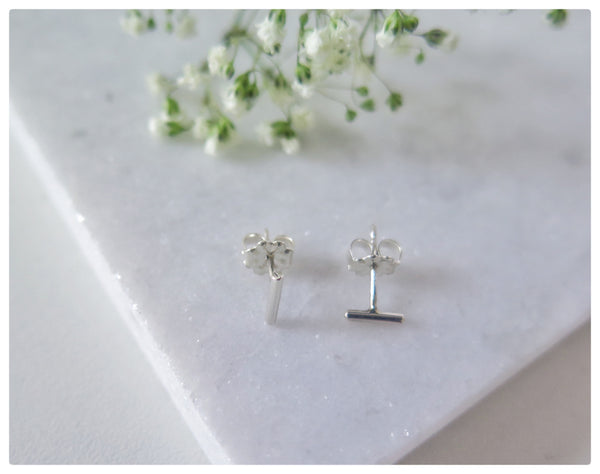 Tiny Sterling Silver Bar Studs - New Vie Shop