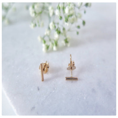 Tiny Gold Bar Studs - New Vie Shop