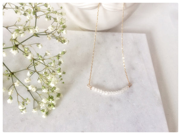 14k Gold Filled White Jade Statement Necklace - New Vie Shop