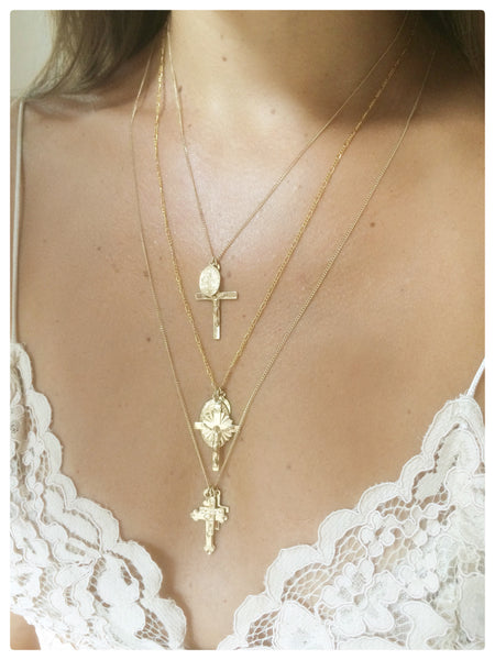 Cross and Saint Mary Necklace - New Vie Shop