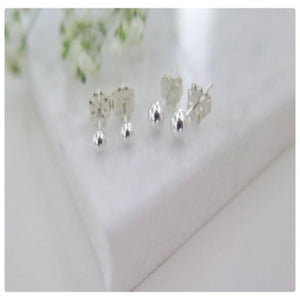 Sterling Silver Set Of Tiny Ball Studs 3mm and 4mm - New Vie Shop