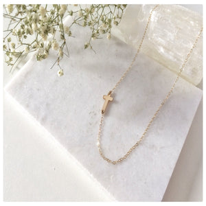 Tiny Sideways Cross Necklace - New Vie Shop