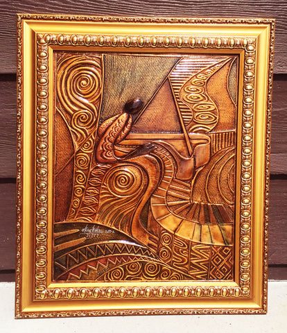 """Piano"" Copper Relief Framed"