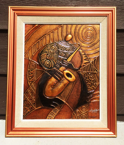 """Sax"" Copper Relief Framed"