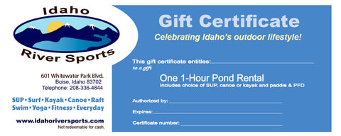 SUP, Canoe or Kayak Pond Rental Gift Certificate
