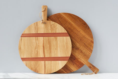 Oak Round Pizza Board, Medium