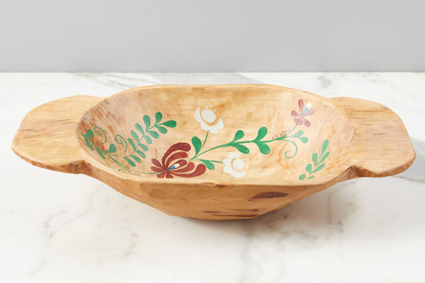 Natural with Multicolor Folklore Dough Bowl, Small
