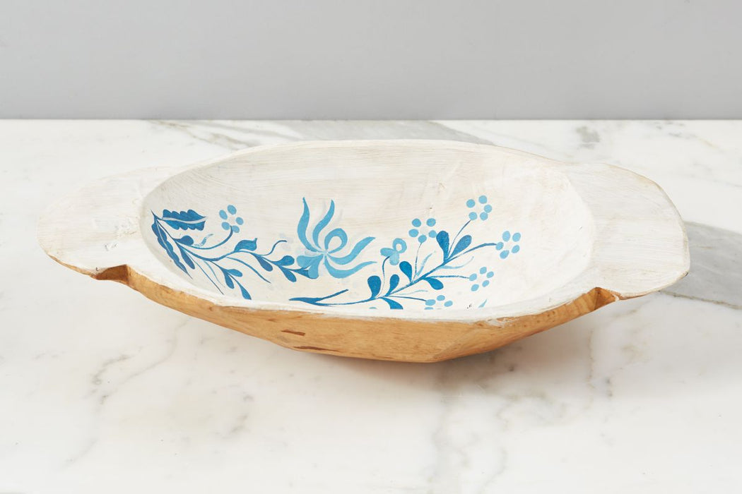 White with Blue Folklore Dough Bowl, Small