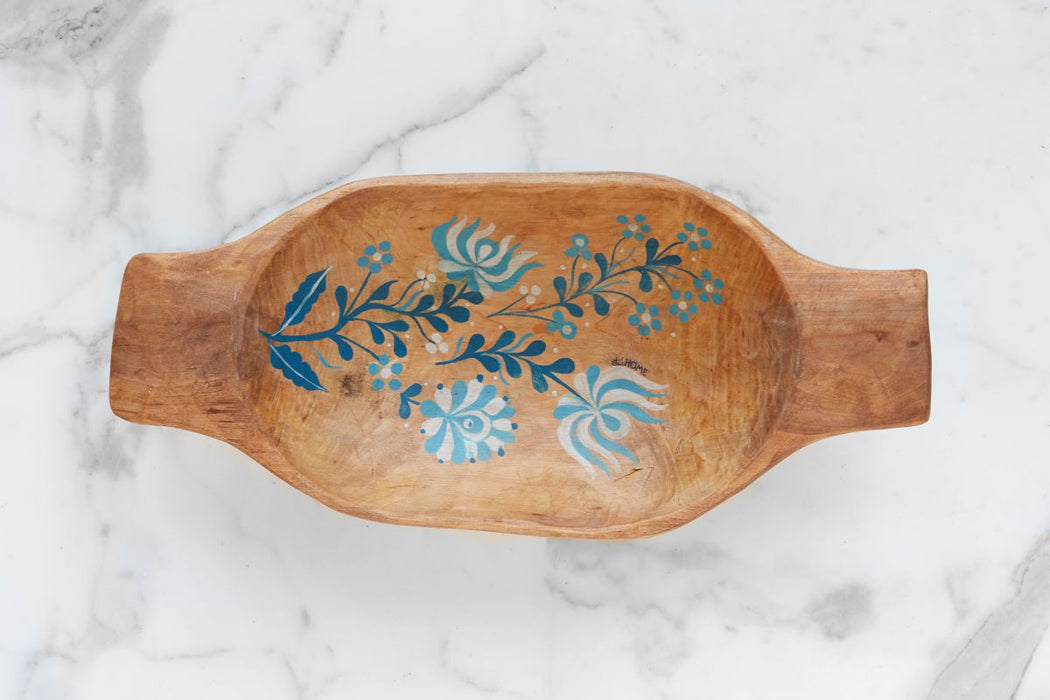 Natural with Blue Folklore Dough Bowl, Small