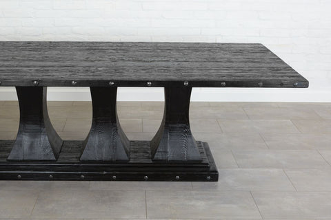 Camden Pedestal Rectangle Table- Black