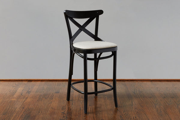 French X-Back Cafe Counter Stool, Black