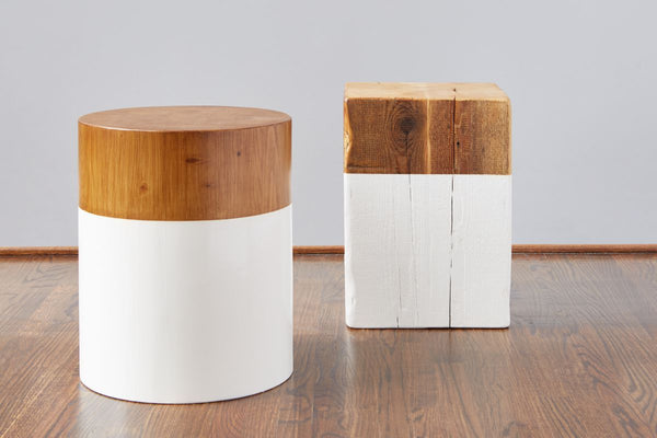 Stupendous Round Mod Block Stool White Pabps2019 Chair Design Images Pabps2019Com