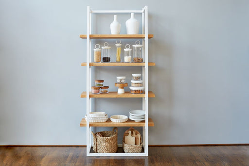 etuHOME Pantry Shelf Unit White with Natural Shelves