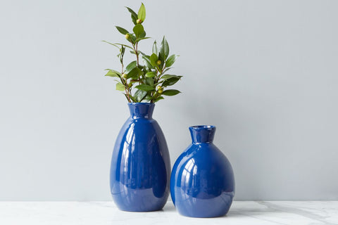 Navy Artisanal Vase, Medium