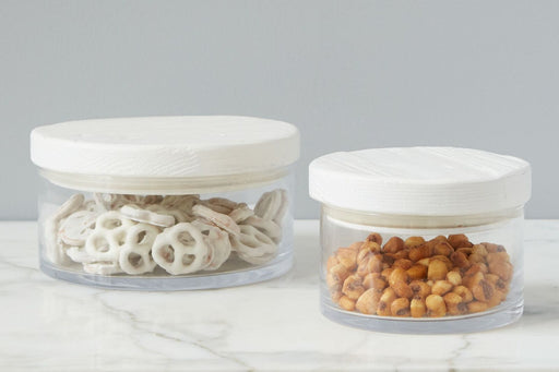 White Wood Top Canister, Small