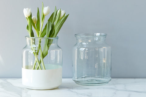 White Colorblock Mason Jar, Small