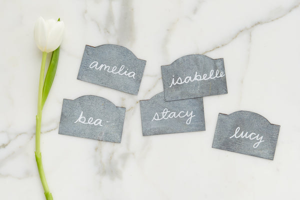 Galvanized Name Card, Set of 8