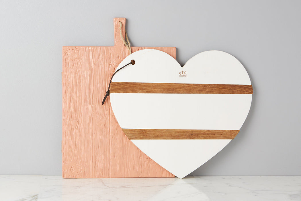 etuHOME White Mod Heart Charcuterie Board, Large 4