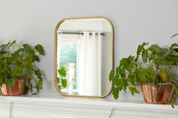 Gold Rectangle Retro Mirror, Medium