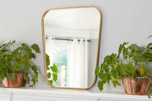 Gold Organic Retro Mirror, Medium